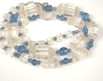 Art Deco Blue Clear Faceted Czech Glass Necklace
