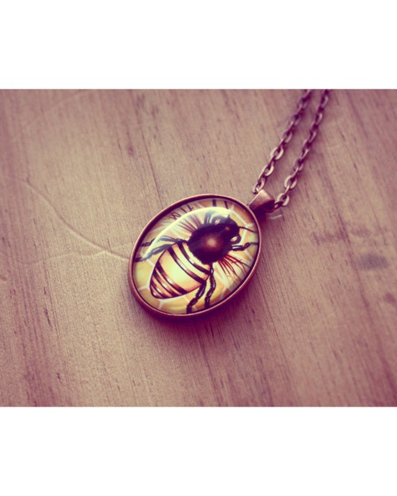 bee necklace bee pendant glass tile pendant necklace