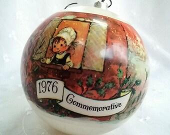 1976 Hallmark Commemorative Satin Christmas Ornament with Original Mary Hamilton Design and with Original Box