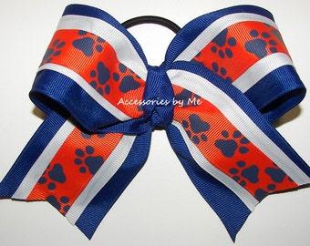Paw Print Cheer Bow, Blue Bulldogs Clip, Blue Orange Softball Bow, Blue Orange Wildcat Bow, Blue Orange Paw Print Bow, Blue Orange Tiger Bow