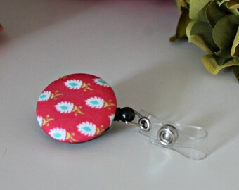 Pink Feather Badge Reel