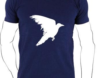 Navy men t shirt, white bird shirt, minimal tee, best friend gift, dove tee, peace t shirt, men t shirt present
