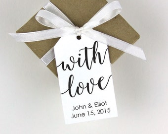 With Love Tag - With Love Tags - Wedding Favor Tags - Custom Tags - Bridal Shower Tags - Personalized Tags - Custom Tags -MEDIUM