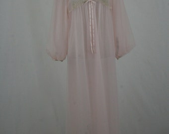 1960s Pink Pin Tucked and Lace Sheer Nylon Robe by Gossard Artemis Size Medium