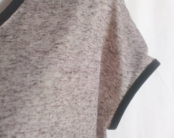 Grey Over Sized T-shirt, Yorkshire knitted jersey, grey marl