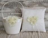Ring Bearer Pillow , Flower Girl Basket , Ivory / White Flower Girl Basket and Ring Bearer Pillow Set , Flower Girl Basket Set