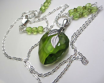 Swarovski Olive Green Necklace Swarovski Green Crystal Necklace Green Pendant Necklace Faceted Rock Necklace Sterling Silver Olivine