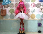 """Ginger's """"Kawaii Cupcake"""" Patterned Dress with Tutu, Made to Fit Ever After High and Monster High Dolls"""