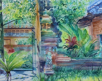 Original watercolour art painting of Ubud, Bali with houses, statues and plants on the street, tropical painting