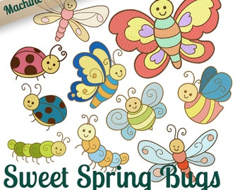 Sweet Spring Bugs Machine Embroidery Patterns - 4x4 and 5x7 Hoop - 10 Fun Butterfly, Ladybug, Caterpillar Designs 2 Sizes INSTANT DOWNLOAD