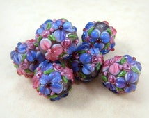 Lampwork Beads -Fuchsia Floral Delight - Fuchsia & Lavender Floral Lamp work - approx. 12mm - Qty. 2