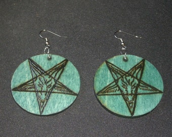 Church of Satan Baphomet Earrings (Pyrography) You Pick the Color, Free US Shipping