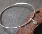 Silver Bangle, silver pebble bangle bracelet, handmade sterling silver with bright hammered finish, ARC Jewellery UK
