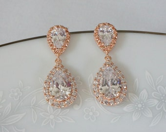 Rose Gold Bridal Earrings Wedding Jewelry Bridesmaid Jewelry Wedding Earrings Bridal Jewelry Jewelry Crystal Drop