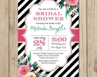 Floral Bridal Shower Invitation, Wedding Shower Invitation, Pink Black White Invitation, Floral Invitations - Melinda