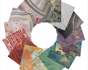 Marbled Paper Stationery: 15 Different Color Choices for 8 Notecards, 8 Envelopes, and a Box to Keep Them In!