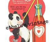 vintage Valentine DIGITAL DOWNLOAD • panda pop • 1950's Valentine • JPEG digital download