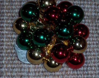 20MM stemmed balls,wired glass Christmas balls,Christmas color mix, shiny finish,16/pkg,holiday crafts,florals,wreath embellishment