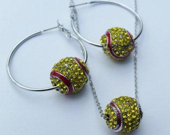 Softball 3d Charm Set Hoop Earrings & Necklace