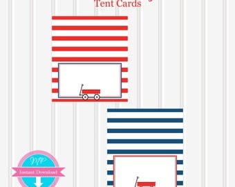 Little Red Wagon Printable DESSERT TABLE CARDS by Marbella Printables