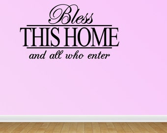 Bless This Home Wall Quote Decal Vinyl Words Stickers (J646)