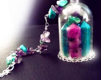 Crystal necklace, Vial necklace, dome necklace, turquoise necklace, amethyst necklace, OOAK, purple turquoise necklace, magic necklace