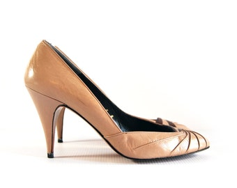 vintage collectif brown and taupe pointed toe pumps (Sz. 6 B M medium) made in spain
