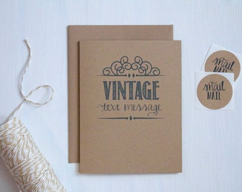 Rustic Kraft Vintage Text Message Card, Just Because Card, Kraft Greeting Card, Stationery, Stationary, Father's Day Card, Funny Card, Thank
