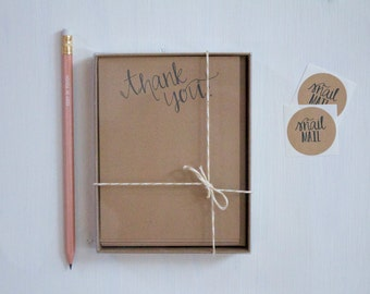 Set of 8 Rustic Kraft Thank You Flat Cards, Rustic Greeting Cards, Stationery, Stationary, Teacher Gift, Stocking Stuffer, Note Cards