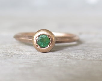 Emerald gold ring-rose gold emerald ring-engagement ring-emerald ring-stacking ring