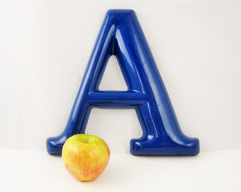"""A three-dimensional Blue Plastic Letter - 12"""" Tall Marquee Letter - Wall Mount 3-D - Lean Against a Wall - Anderson, Ansel, Agria, Adams, AZ"""