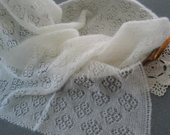 Hand knitted rectangular shawl / stole, cloudy white colour, luxury Kid Mohair and Silk, lace pattern, woolen shawl, woolen stole, for women