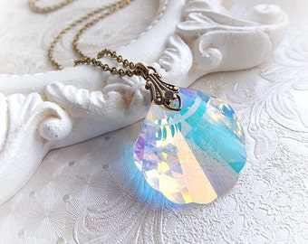 Swarovski crystal necklace mermaid siren necklace mermaid jewelry beach necklace ocean jewelry sea neklace bridal bridesmaid gift jewellery
