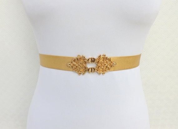 Gold Elastic Waist Belt. Gold Filigree Buckle. Bridal belt. Evening dress belt.