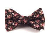 Men's Bow Tie, Black Pink and Gold Brown Floral Bowtie -  Custom Self Tie Bow Tie with Adjustable Hardware