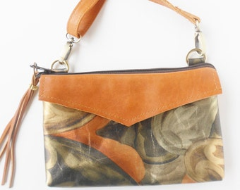 Leather crossbody bag or shoulder bag, in  metallic greens and bronze leather with smooth leather trim and exterior and interior pockets.