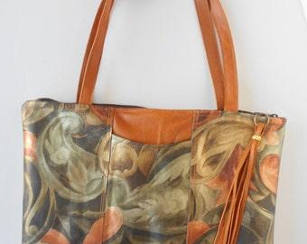 Shoulder bag or leather tote bag,  in metallic leather.  Paisley leather shoulder bag or tote.