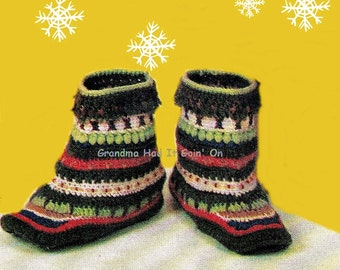CROCHET PATTERN - 70s Greenland Slipper Boots  - Slipper Socks house slippers - PDF Instant Download chunky booties  Moccasin Slippers Shoes