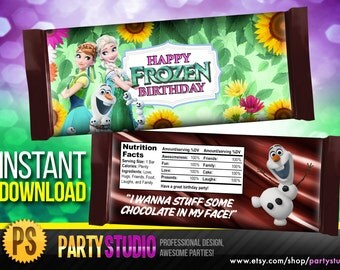 Disney Frozen Fever Candy Bar Wrappers - Disney Frozen Fever Candy Wrapper - Frozen Fever Party Favor - instant download