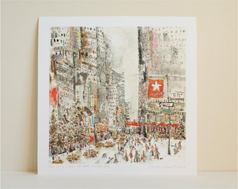 NEW YORK Art, Macys Shopping, West 34th Street, NYC Buildings, Pen Drawing Watercolor Painting Manhattan Snow Giclee Print, Clare Caulfield