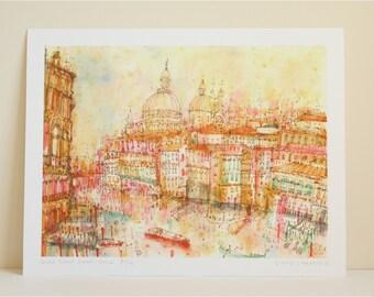 Venice Painting, GRAND CANAL SUNSET, Italy Art Print, Venetian Art print, Pen and Watercolor, Venice Architecture, Gondola, Clare Caulfield