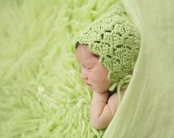 Little Lattice Bonnet, Crochet Pixie Bonnet, Custom, Made to Order