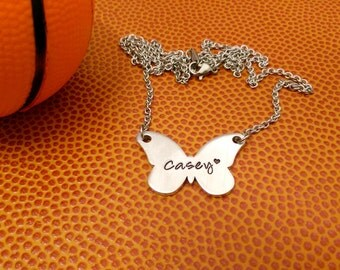 Butterfly Name Necklace - Personalized Youth Jewelry - Spirit Necklace - Cheer Necklace - Sports Team Jewelry - Varsity Team Jewelry - JV