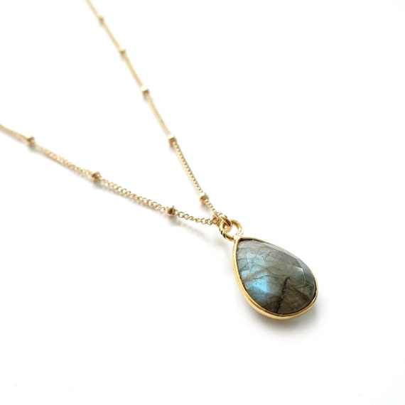 Labradorite Necklace, Gold Labradorite Teardrop, Satellite Chain, Dew Drop Chain, Small Labradorite Pendant, Gold Filled, Tiny Labradorite