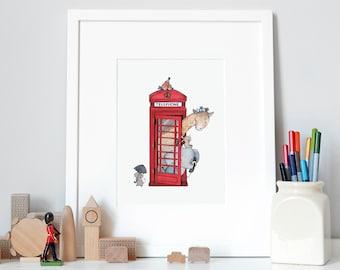 British Telephone, Iconic Nursery Art, Fine Art Print, for Children's room, Red Phone Box, London Iconic Art, London Theme, Nursery wall art