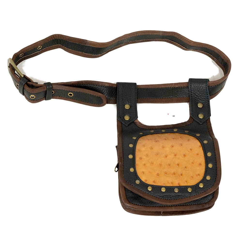 tribal leather utility belt with brown ostrich by baliwoodshop