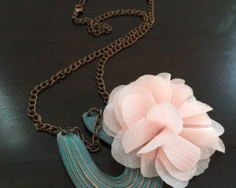 Rustic necklace with pink flower