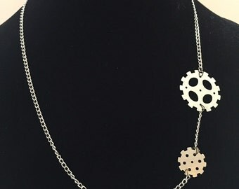 Silver plated gear necklace