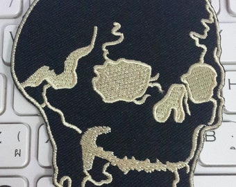 Skull Iron on Patch - Skull Applique Embroidered Iron on Patch