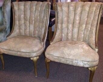 before frame pair of vintage french channel back armless accent chairs available for custom